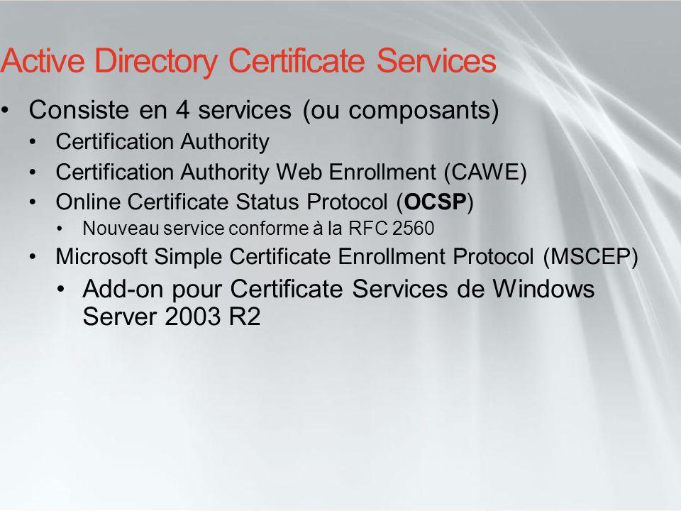Active Directory Certificate Services Consiste en 4 services (ou composants) Certification Authority Certification Authority Web Enrollment (CAWE) Onl