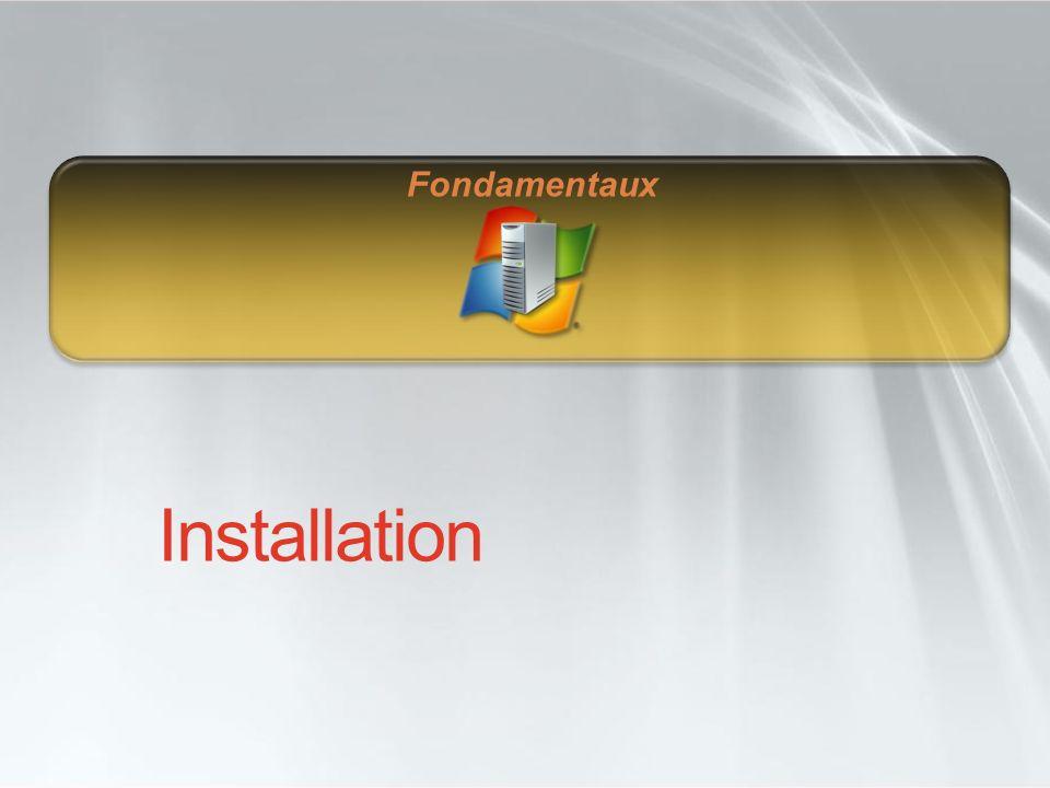 Installation de Windows Server 2008 Installation Par fichier image (fichier.wim) 2 modes Classique Serveur Core Configuration initiale Initial Configuration Tasks Administration du serveur Server Manager Gestion des rôles Gestion des fonctionnalités