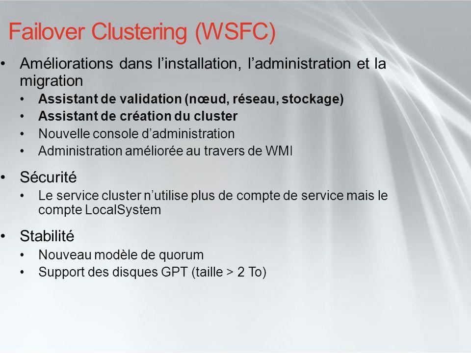 Failover Clustering (WSFC) Améliorations dans linstallation, ladministration et la migration Assistant de validation (nœud, réseau, stockage) Assistan