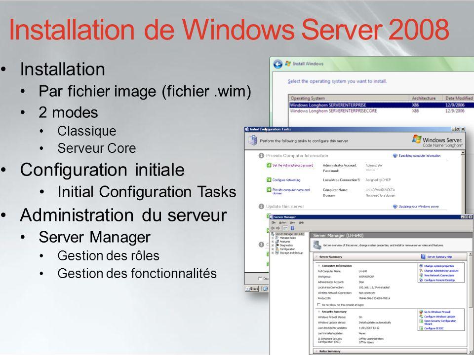 Installation de Windows Server 2008 Installation Par fichier image (fichier.wim) 2 modes Classique Serveur Core Configuration initiale Initial Configu