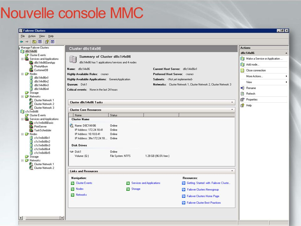 i… Cluster Administrator aujourdhui… Nouvelle console MMC