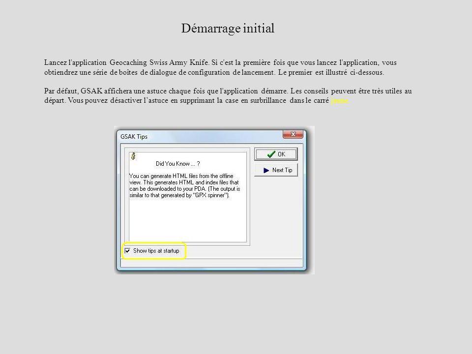 Lancez l'application Geocaching Swiss Army Knife. Si c'est la première fois que vous lancez l'application, vous obtiendrez une série de boîtes de dial