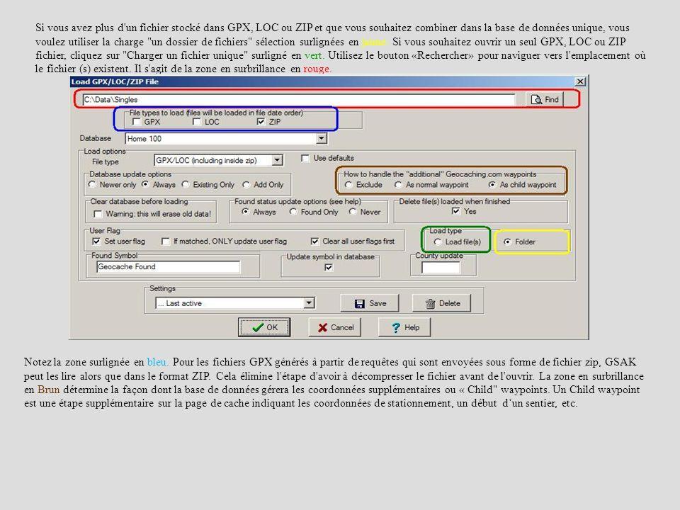 Si vous avez plus d'un fichier stocké dans GPX, LOC ou ZIP et que vous souhaitez combiner dans la base de données unique, vous voulez utiliser la char