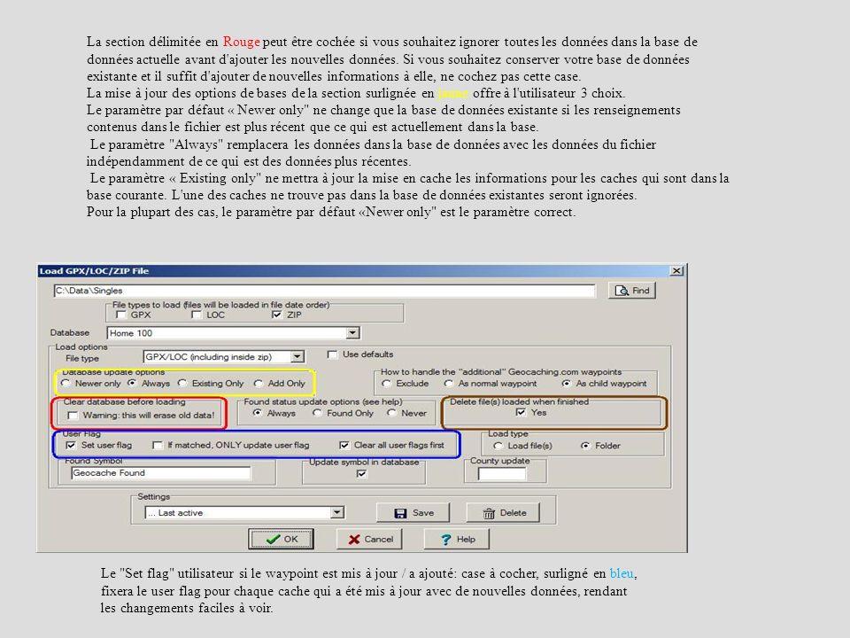La section délimitée en Rouge peut être cochée si vous souhaitez ignorer toutes les données dans la base de données actuelle avant d'ajouter les nouve