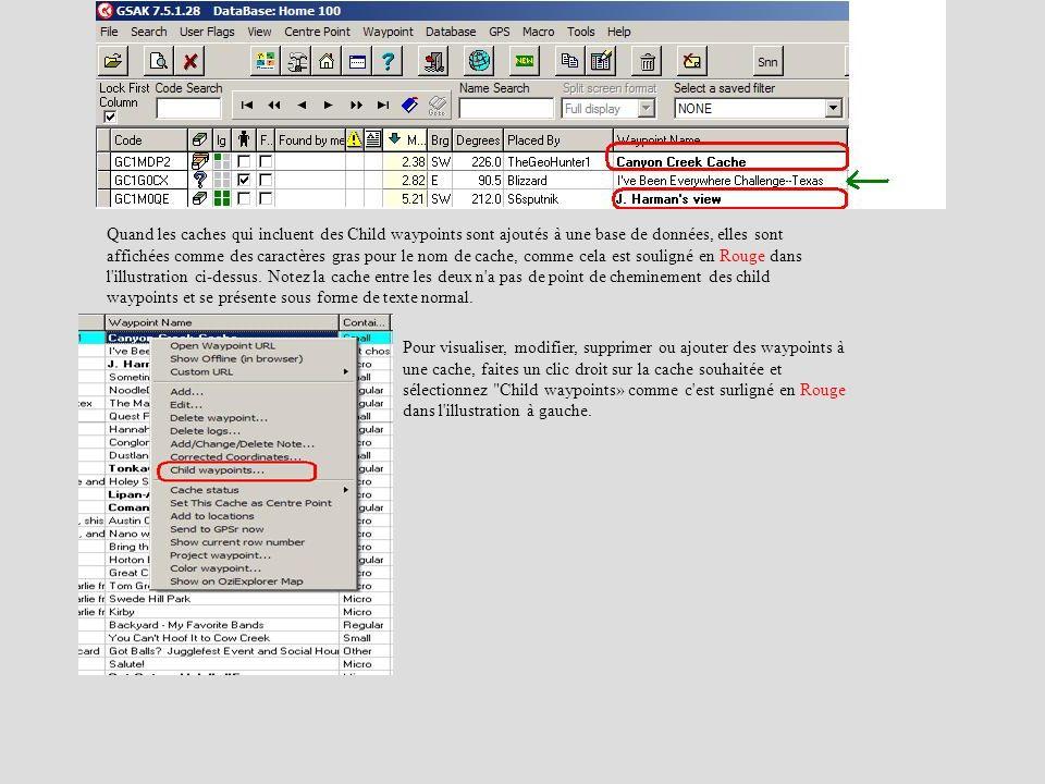 Quand les caches qui incluent des Child waypoints sont ajoutés à une base de données, elles sont affichées comme des caractères gras pour le nom de ca