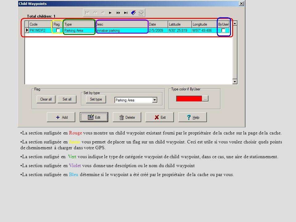 La section surlignée en Rouge vous montre un child waypoint existant fourni par le propriétaire de la cache sur la page de la cache. La section surlig
