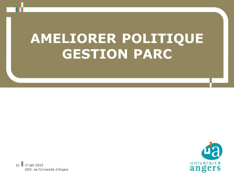 17 jan 2013 DDN de l'Université d'Angers 12 AMELIORER POLITIQUE GESTION PARC