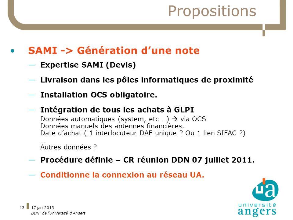17 jan 2013 DDN de l'Université d'Angers 13 Propositions SAMI -> Génération dune note Expertise SAMI (Devis) Livraison dans les pôles informatiques de