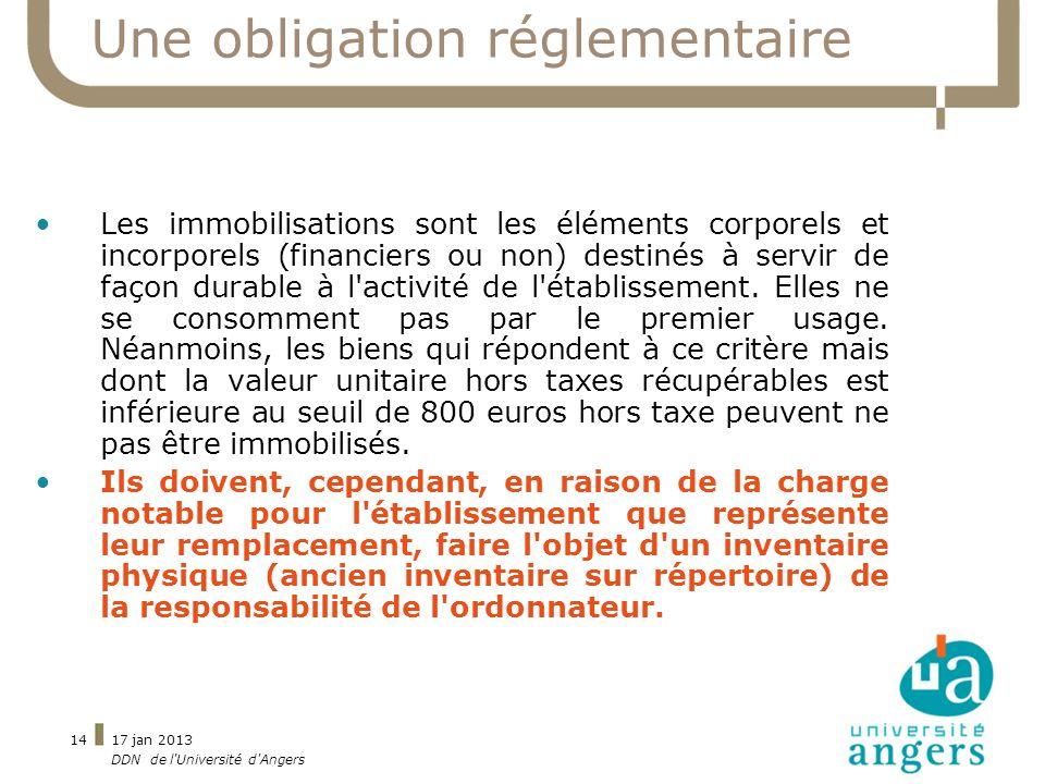 17 jan 2013 DDN de l'Université d'Angers 14 Une obligation réglementaire Les immobilisations sont les éléments corporels et incorporels (financiers ou