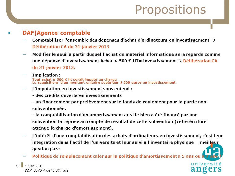 17 jan 2013 DDN de l'Université d'Angers 15 Propositions DAF|Agence comptable Comptabiliser l'ensemble des dépenses d'achat d'ordinateurs en investiss
