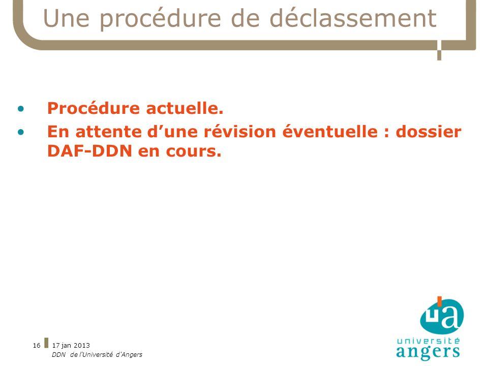 17 jan 2013 DDN de l'Université d'Angers 16 Une procédure de déclassement Procédure actuelle. En attente dune révision éventuelle : dossier DAF-DDN en