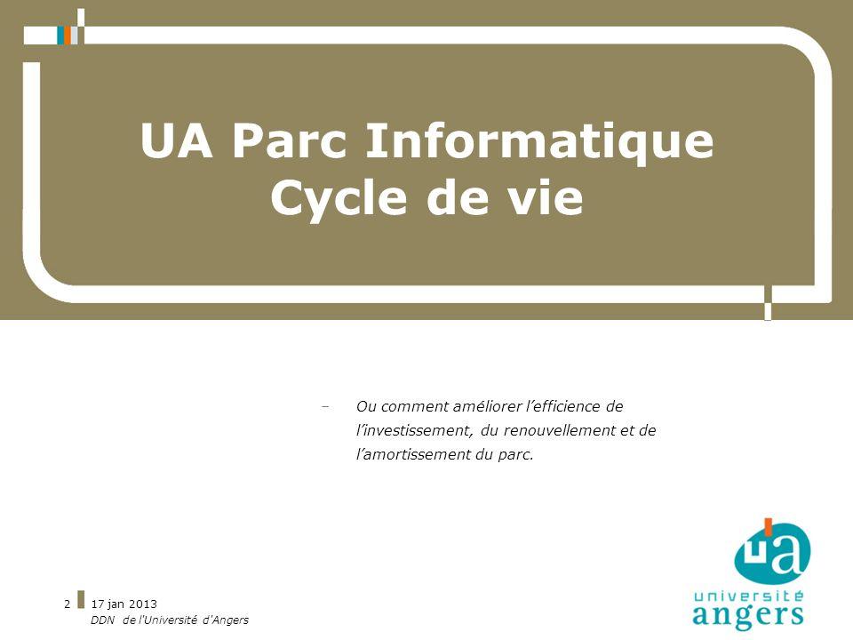 17 jan 2013 DDN de l'Université d'Angers 2 UA Parc Informatique Cycle de vie –Ou comment améliorer lefficience de linvestissement, du renouvellement e