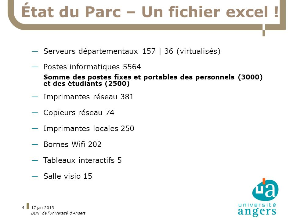 17 jan 2013 DDN de l'Université d'Angers 4 État du Parc – Un fichier excel ! Serveurs départementaux 157 | 36 (virtualisés) Postes informatiques 5564