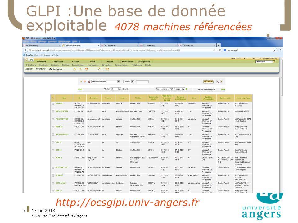 17 jan 2013 DDN de l'Université d'Angers 5 GLPI :Une base de donnée exploitable http://ocsglpi.univ-angers.fr 4078 machines référencées