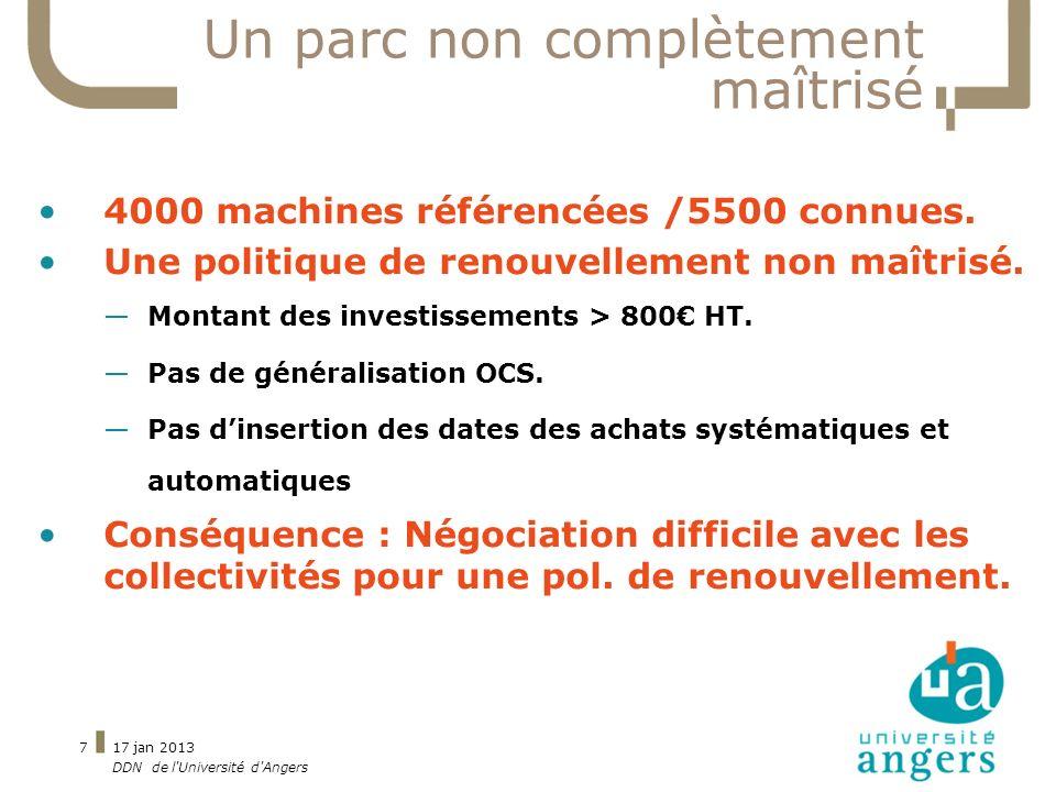 17 jan 2013 DDN de l'Université d'Angers 7 Un parc non complètement maîtrisé 4000 machines référencées /5500 connues. Une politique de renouvellement
