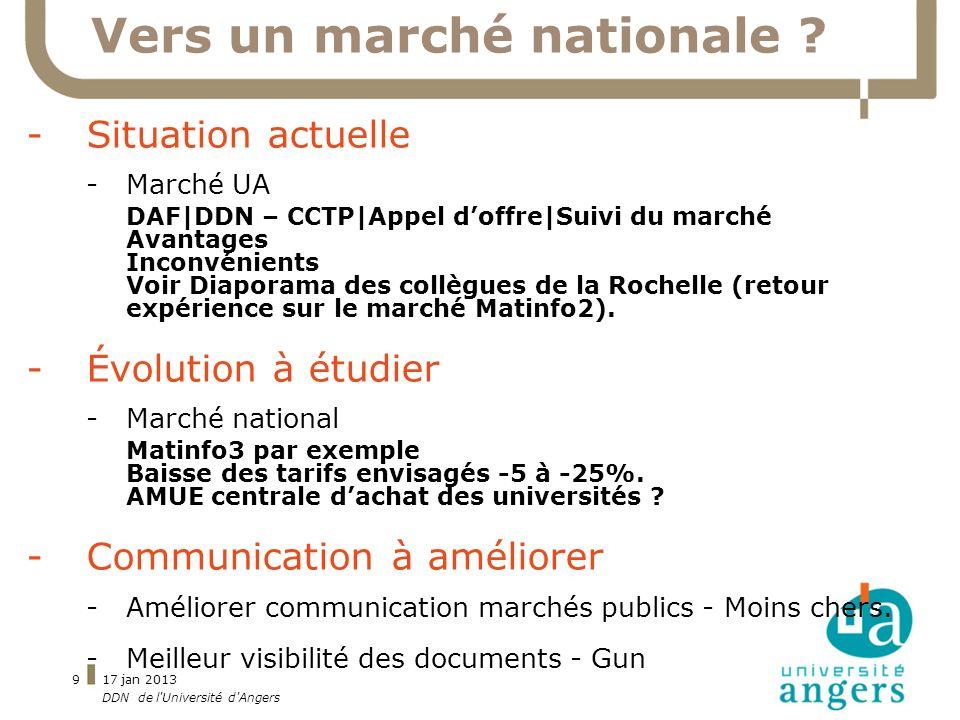 17 jan 2013 DDN de l'Université d'Angers 9 Vers un marché nationale ? -Situation actuelle -Marché UA DAF|DDN – CCTP|Appel doffre|Suivi du marché Avant