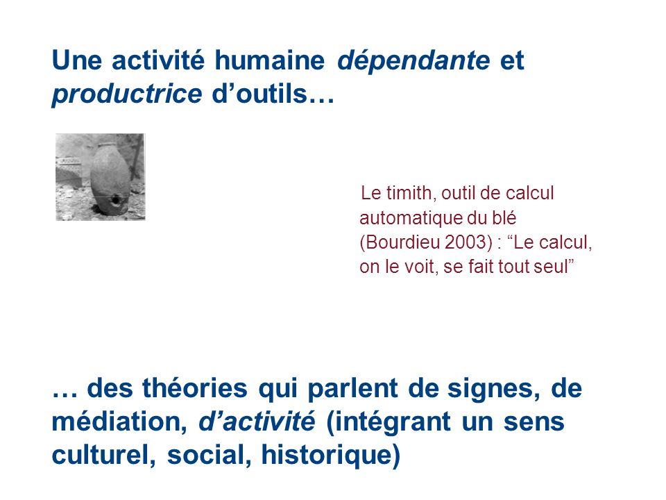 Une activité humaine dépendante et productrice doutils… Le timith, outil de calcul automatique du blé (Bourdieu 2003) : Le calcul, on le voit, se fait
