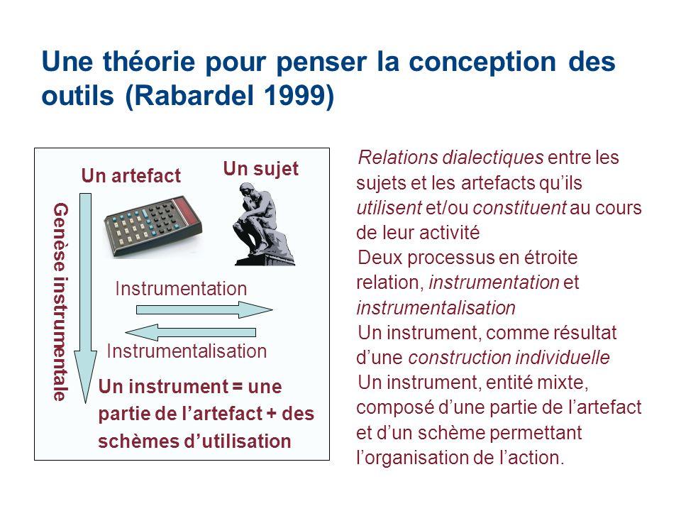 Une théorie pour penser la conception des outils (Rabardel 1999) Un artefact Un sujet Instrumentation Instrumentalisation Un instrument = une partie d
