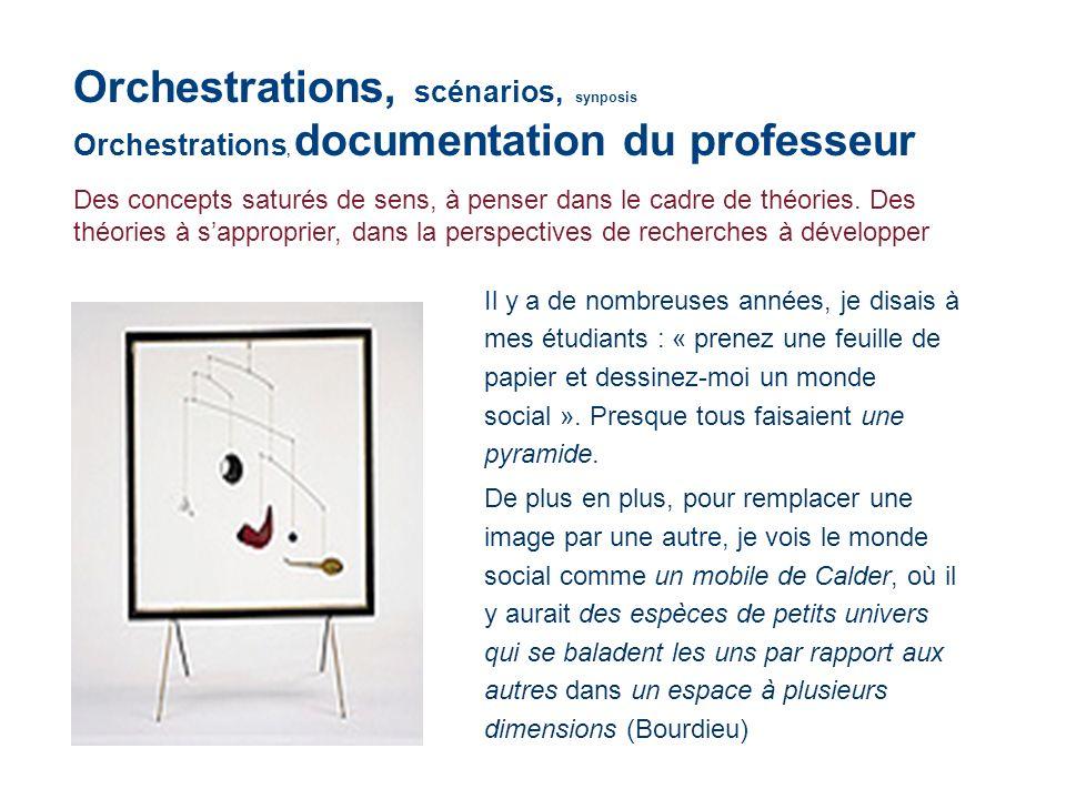 Orchestrations, scénarios, synposis Orchestrations, documentation du professeur Des concepts saturés de sens, à penser dans le cadre de théories. Des