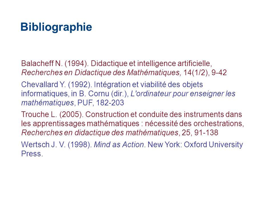 Balacheff N. (1994). Didactique et intelligence artificielle, Recherches en Didactique des Mathématiques, 14(1/2), 9-42 Chevallard Y. (1992). Intégrat