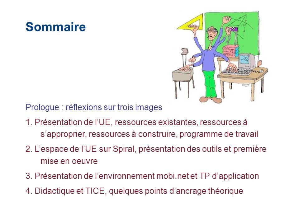 Sommaire Prologue : réflexions sur trois images 1. Présentation de lUE, ressources existantes, ressources à sapproprier, ressources à construire, prog