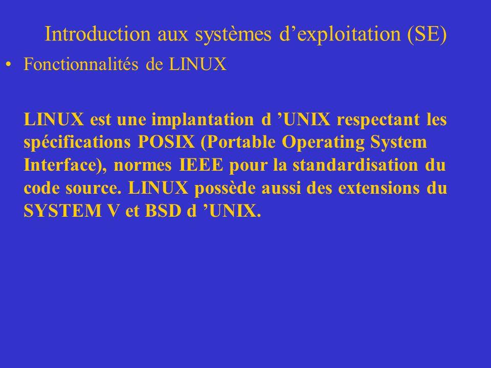 Introduction aux systèmes dexploitation (SE) Fonctionnalités de LINUX LINUX est une implantation d UNIX respectant les spécifications POSIX (Portable Operating System Interface), normes IEEE pour la standardisation du code source.