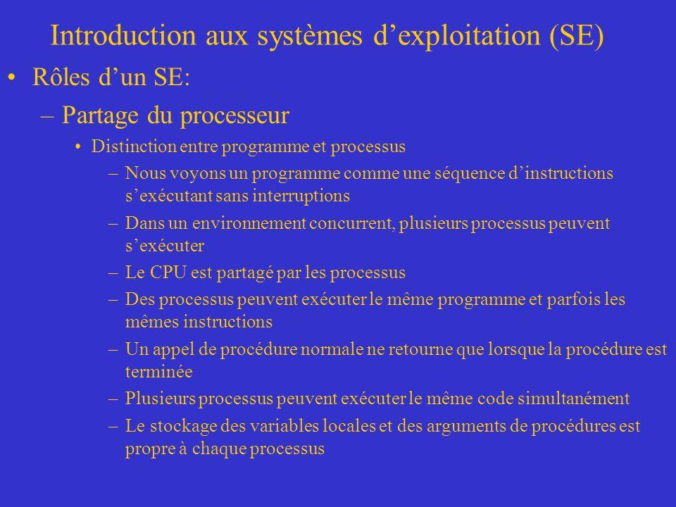 Introduction aux systèmes dexploitation (SE) Rôles dun SE: –Partage du processeur Distinction entre programme et processus –Nous voyons un programme c