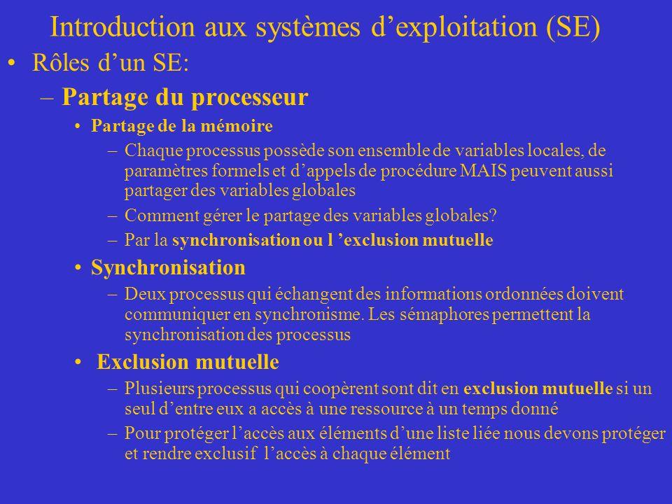 Introduction aux systèmes dexploitation (SE) Rôles dun SE: –Partage du processeur Partage de la mémoire –Chaque processus possède son ensemble de variables locales, de paramètres formels et dappels de procédure MAIS peuvent aussi partager des variables globales –Comment gérer le partage des variables globales.