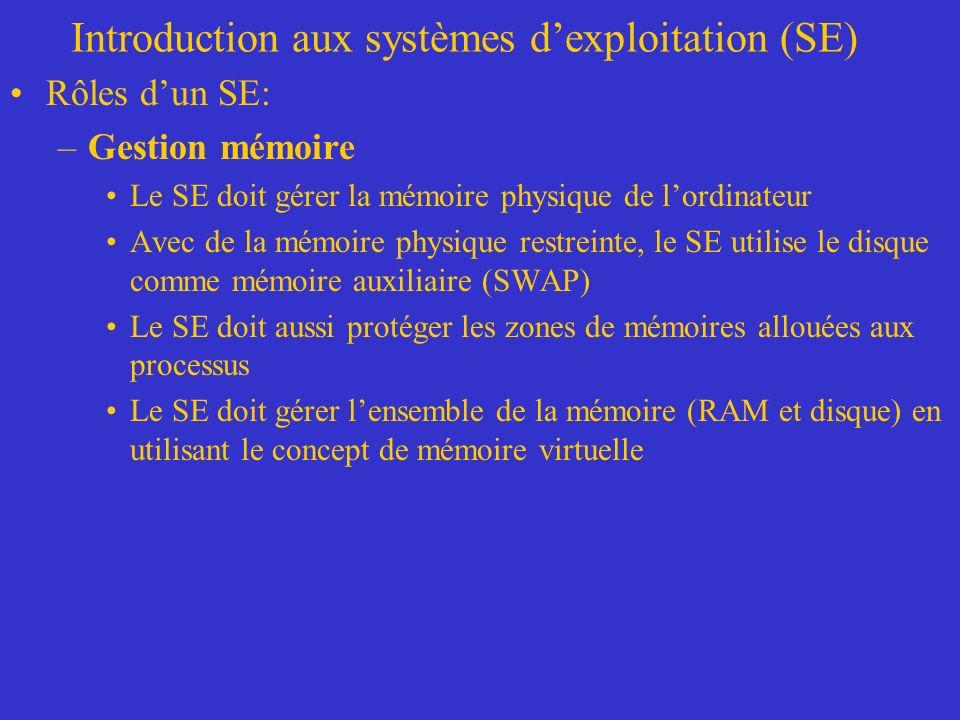 Introduction aux systèmes dexploitation (SE) Rôles dun SE: –Gestion mémoire Le SE doit gérer la mémoire physique de lordinateur Avec de la mémoire physique restreinte, le SE utilise le disque comme mémoire auxiliaire (SWAP) Le SE doit aussi protéger les zones de mémoires allouées aux processus Le SE doit gérer lensemble de la mémoire (RAM et disque) en utilisant le concept de mémoire virtuelle