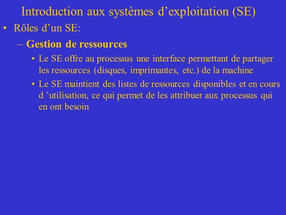Introduction aux systèmes dexploitation (SE) Rôles dun SE: –Gestion de ressources Le SE offre au processus une interface permettant de partager les ressources (disques, imprimantes, etc.) de la machine Le SE maintient des listes de ressources disponibles et en cours d utilisation, ce qui permet de les attribuer aux processus qui en ont besoin