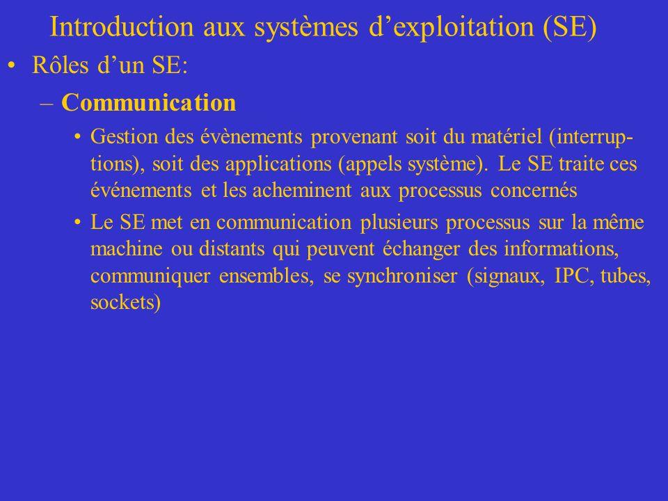 Introduction aux systèmes dexploitation (SE) Rôles dun SE: –Communication Gestion des évènements provenant soit du matériel (interrup- tions), soit de