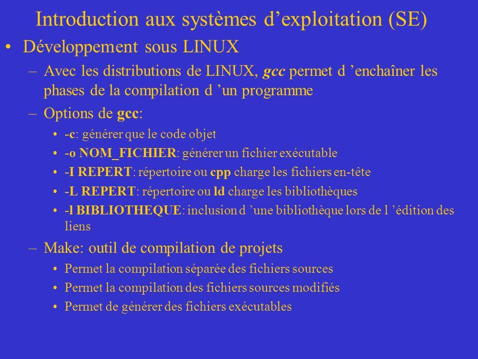 Introduction aux systèmes dexploitation (SE) Développement sous LINUX –Avec les distributions de LINUX, gcc permet d enchaîner les phases de la compilation d un programme –Options de gcc: -c: générer que le code objet -o NOM_FICHIER: générer un fichier exécutable -I REPERT: répertoire ou cpp charge les fichiers en-tête -L REPERT: répertoire ou ld charge les bibliothèques -l BIBLIOTHEQUE: inclusion d une bibliothèque lors de l édition des liens –Make: outil de compilation de projets Permet la compilation séparée des fichiers sources Permet la compilation des fichiers sources modifiés Permet de générer des fichiers exécutables