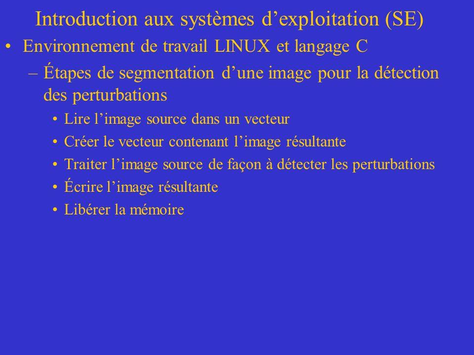 Introduction aux systèmes dexploitation (SE) Environnement de travail LINUX et langage C –Étapes de segmentation dune image pour la détection des pert