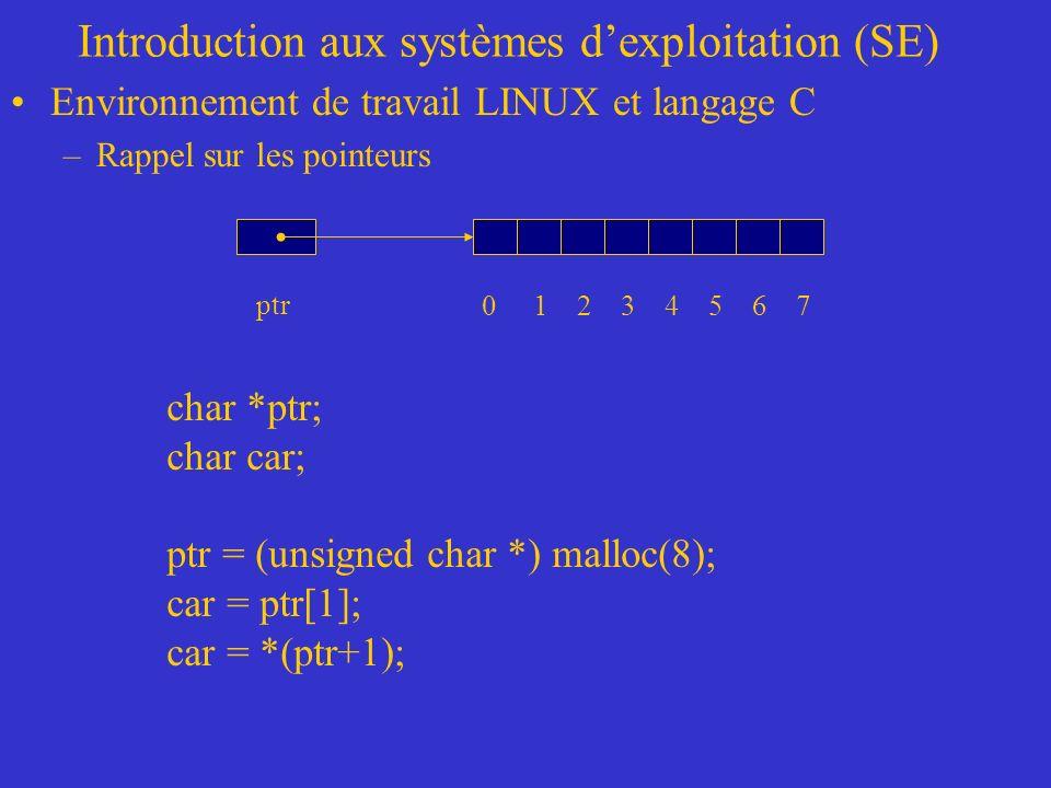 Introduction aux systèmes dexploitation (SE) Environnement de travail LINUX et langage C –Rappel sur les pointeurs ptr char *ptr; char car; ptr = (unsigned char *) malloc(8); car = ptr[1]; car = *(ptr+1); 0 1 2 3 4 5 6 7