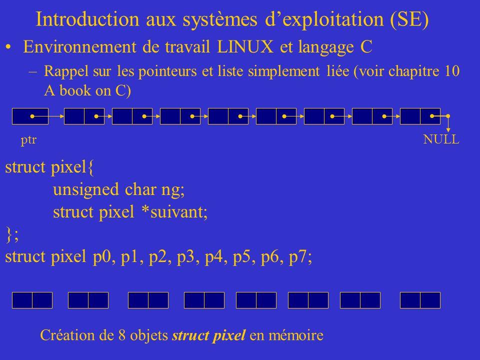 Introduction aux systèmes dexploitation (SE) Environnement de travail LINUX et langage C –Rappel sur les pointeurs et liste simplement liée (voir chapitre 10 A book on C) ptr struct pixel{ unsigned char ng; struct pixel *suivant; }; struct pixel p0, p1, p2, p3, p4, p5, p6, p7; NULL Création de 8 objets struct pixel en mémoire