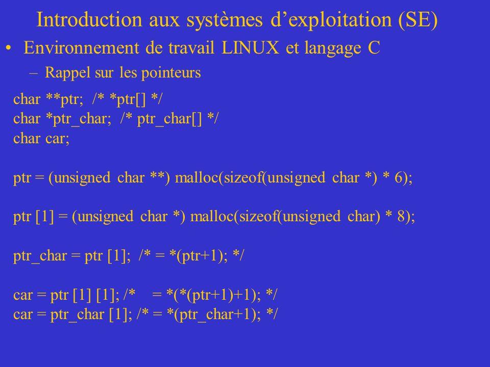 Introduction aux systèmes dexploitation (SE) Environnement de travail LINUX et langage C –Rappel sur les pointeurs char **ptr; /* *ptr[] */ char *ptr_char; /* ptr_char[] */ char car; ptr = (unsigned char **) malloc(sizeof(unsigned char *) * 6); ptr [1] = (unsigned char *) malloc(sizeof(unsigned char) * 8); ptr_char = ptr [1]; /* = *(ptr+1); */ car = ptr [1] [1]; /* = *(*(ptr+1)+1); */ car = ptr_char [1]; /* = *(ptr_char+1); */
