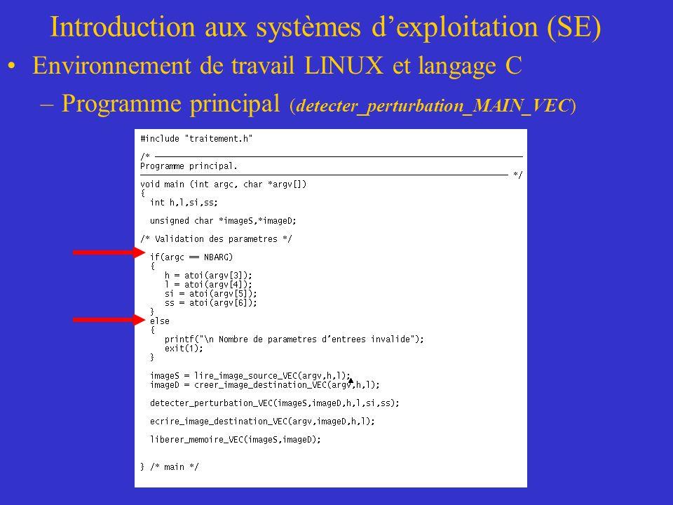 Introduction aux systèmes dexploitation (SE) Environnement de travail LINUX et langage C –Programme principal (detecter_perturbation_MAIN_VEC)