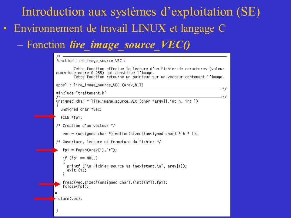 Introduction aux systèmes dexploitation (SE) Environnement de travail LINUX et langage C –Fonction lire_image_source_VEC()