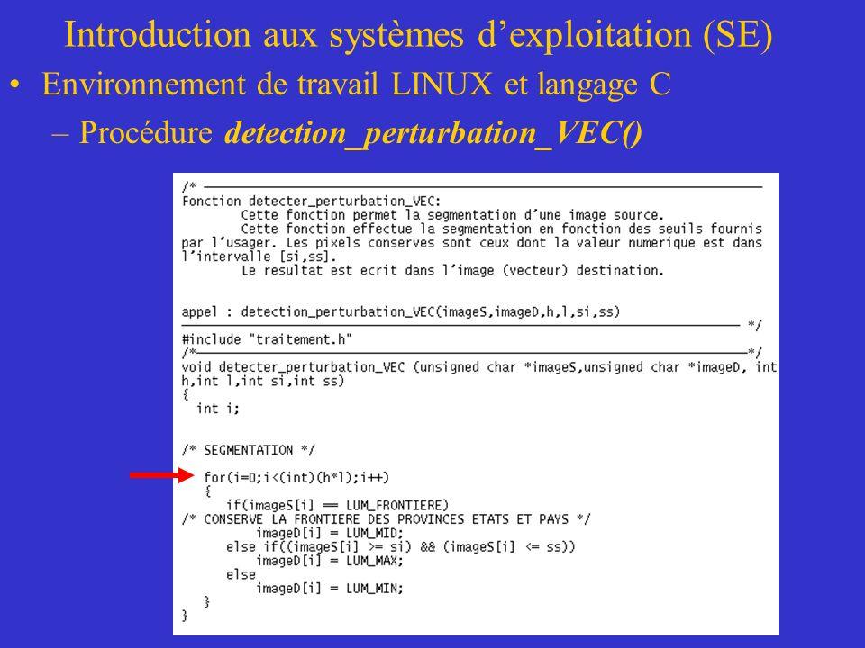 Introduction aux systèmes dexploitation (SE) Environnement de travail LINUX et langage C –Procédure detection_perturbation_VEC()