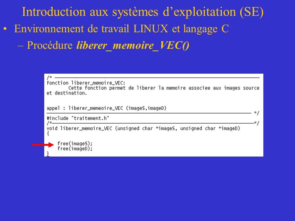 Introduction aux systèmes dexploitation (SE) Environnement de travail LINUX et langage C –Procédure liberer_memoire_VEC()