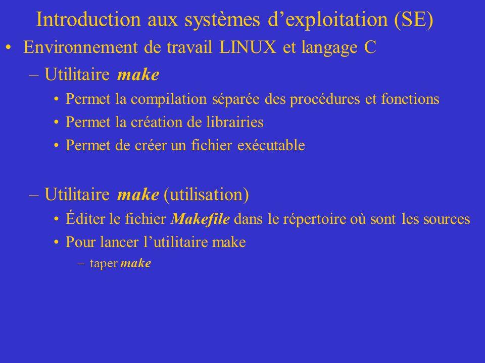 Introduction aux systèmes dexploitation (SE) Environnement de travail LINUX et langage C –Utilitaire make Permet la compilation séparée des procédures