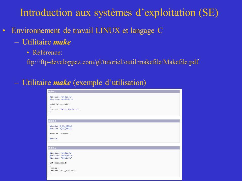 Introduction aux systèmes dexploitation (SE) Environnement de travail LINUX et langage C –Utilitaire make Référence: ftp://ftp-developpez.com/gl/tutoriel/outil/makefile/Makefile.pdf –Utilitaire make (exemple dutilisation)