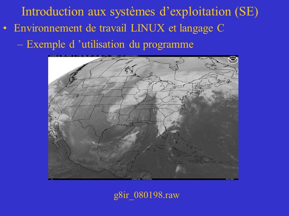Introduction aux systèmes dexploitation (SE) Environnement de travail LINUX et langage C –Exemple d utilisation du programme g8ir_080198.raw