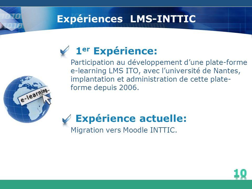 Expériences LMS-INTTIC 1 er Expérience: Participation au développement dune plate-forme e-learning LMS ITO, avec luniversité de Nantes, implantation e
