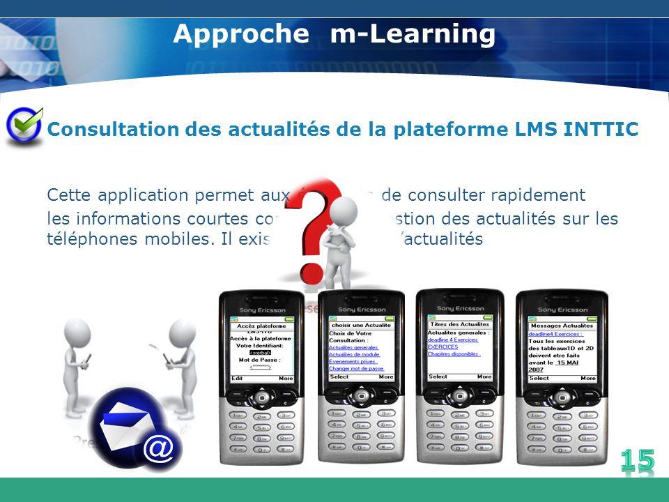 Approche m-Learning Consultation des actualités de la plateforme LMS INTTIC Cette application permet aux étudiants de consulter rapidement les informa