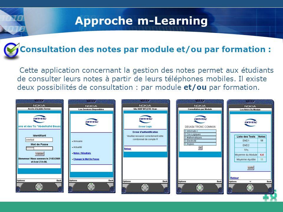 Approche m-Learning Consultation des notes par module et/ou par formation : Cette application concernant la gestion des notes permet aux étudiants de