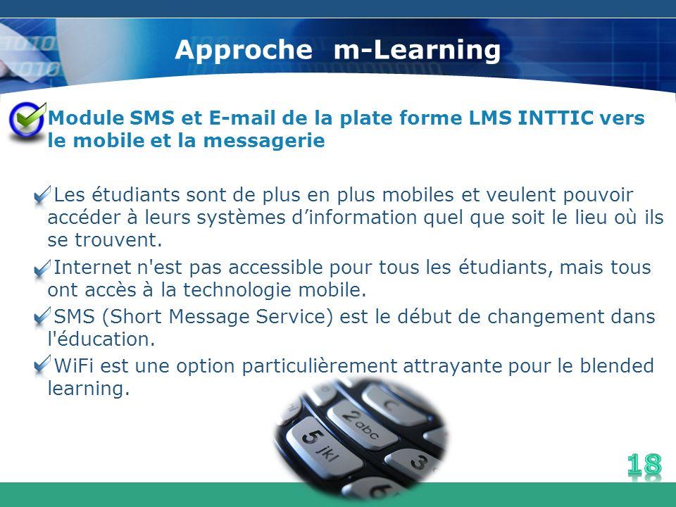 Approche m-Learning Module SMS et E-mail de la plate forme LMS INTTIC vers le mobile et la messagerie Les étudiants sont de plus en plus mobiles et ve