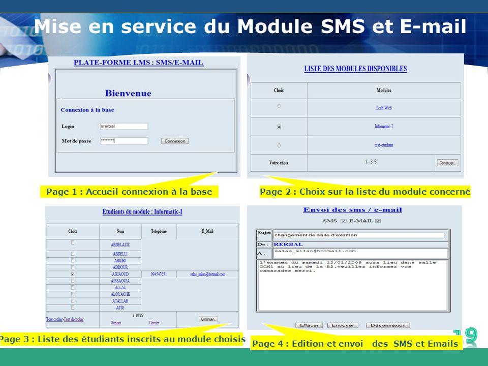Mise en service du Module SMS et E-mail Page 1 : Accueil connexion à la base Page 2 : Choix sur la liste du module concerné Page 4 : Edition et envoi