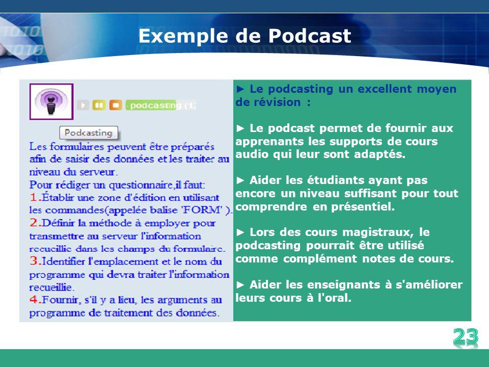 Exemple de Podcast Le podcasting un excellent moyen de révision : Le podcast permet de fournir aux apprenants les supports de cours audio qui leur son