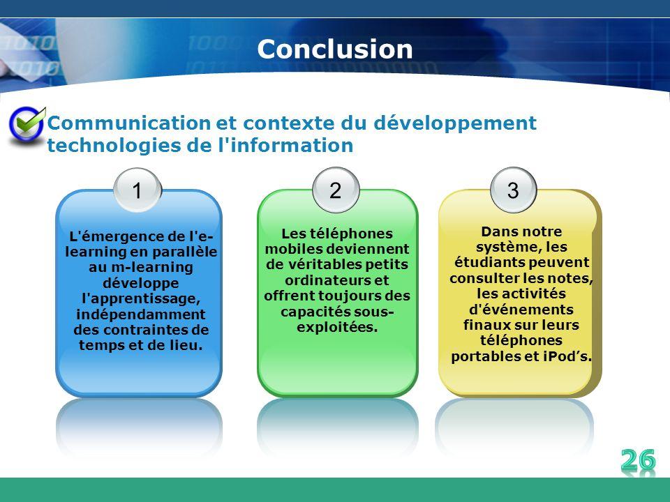 Conclusion Communication et contexte du développement technologies de l'information 1 2 3 Dans notre système, les étudiants peuvent consulter les note